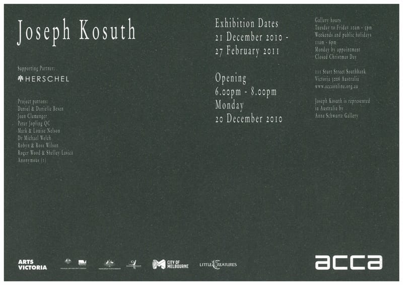 Joseph kosuth waiting for text for nothing samuel beckett in joseph kosuth waiting for text for nothing samuel beckett in play invitation 2010 courtesy acca archive stopboris Choice Image