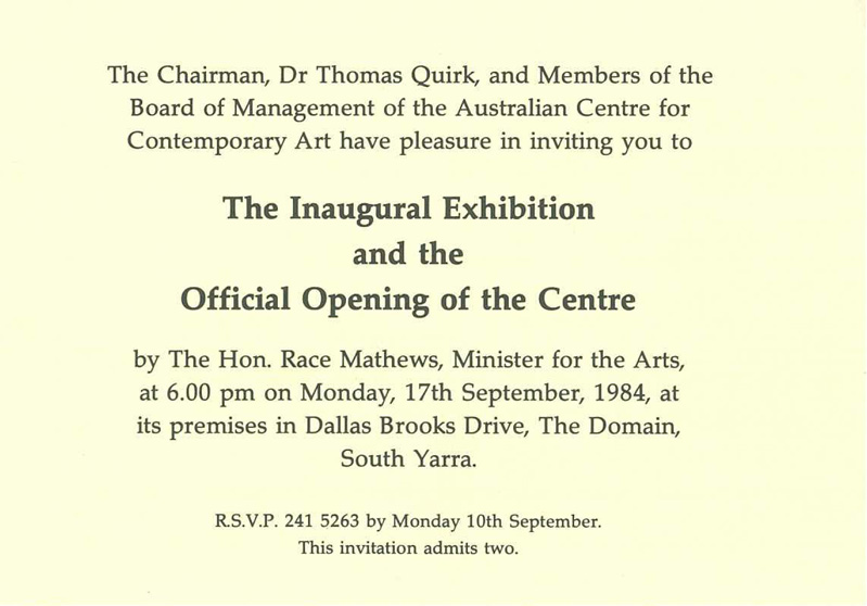 The inaugural exhibition bill woodrow robert jacks peter cook the inaugural exhibition invitation acca 1984 courtesy acca archive stopboris Image collections